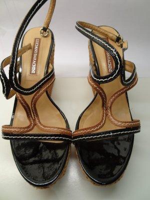 Sandales à talons hauts et plateforme beige-noir tissu mixte