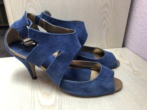 Minozzi Milano Sandalias de tacón de tiras azul-azul acero