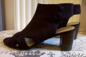 Yessica Peep Toe Booties black-dark brown imitation leather