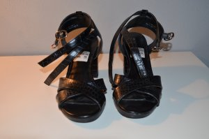 Deichmann High Heel Sandal black-gold-colored imitation leather