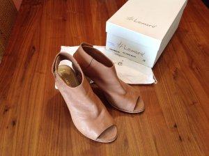 Sandalen met bandjes en hoge hakken beige-lichtbruin Leer
