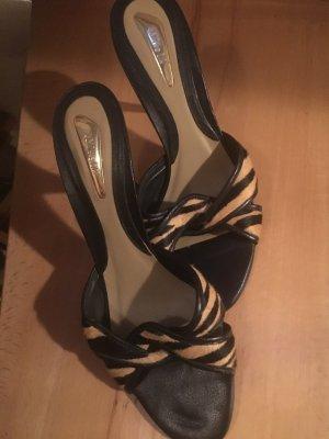 Sandalo con tacco alto nero-bronzo Pelle