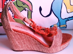 Wedge Sandals orange-oatmeal hemp