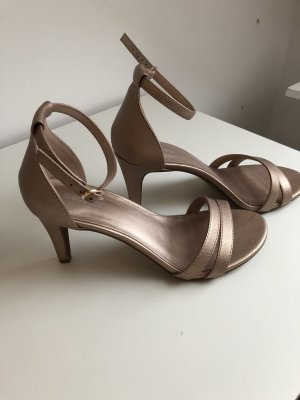Deichmann Strapped High-Heeled Sandals rose-gold-coloured-bronze-colored