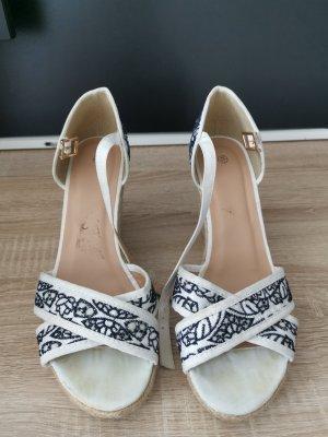 High-Heeled Toe-Post Sandals white-dark blue