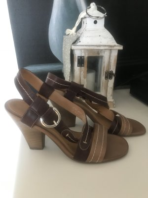 5th Avenue Strapped High-Heeled Sandals dark brown-oatmeal
