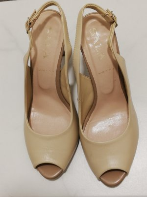 High-Heeled Toe-Post Sandals beige leather