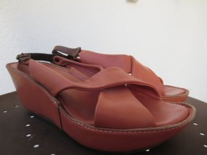 Lili Mill Wedge Sandals apricot leather