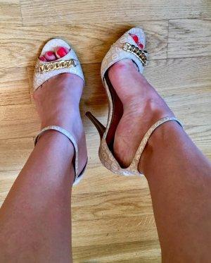 Sandaletten beige-gold mit Absatz
