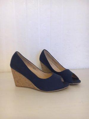 Platform High-Heeled Sandal beige-blue