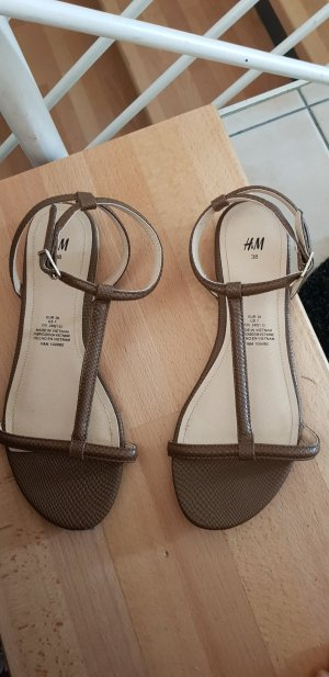 H&M T-Strap Sandals brown