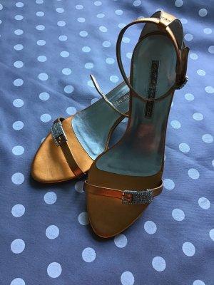 Buffalo London Strapped High-Heeled Sandals light orange leather