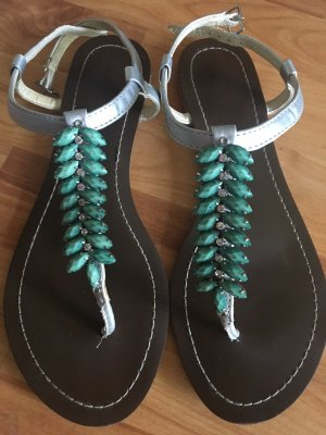 High-Heeled Toe-Post Sandals silver-colored-turquoise