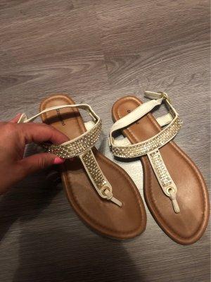 Graceland High-Heeled Toe-Post Sandals white-beige