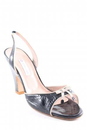 L'Autre Chose Sandalen met bandjes en hoge hakken zwart-rosé Leer