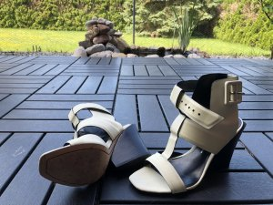 Derek Lam High-Heeled Sandals oatmeal leather