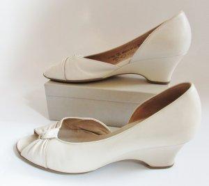 Sandaletten Gabor Größe 6 39 Creme Peeptoe Schuhe Pumps Slipper Nude Knoten Schleife Brautschuh Keilpumps Wedges