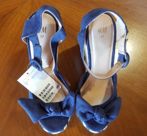H&M Platform High-Heeled Sandal dark blue