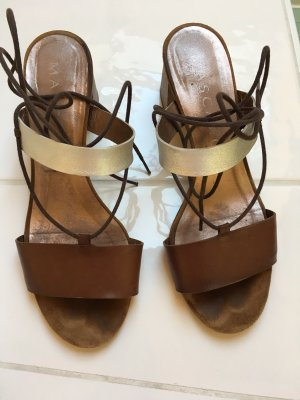 Mascaró Roman Sandals brown-silver-colored leather