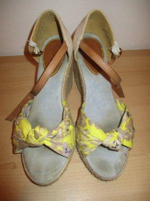 Sandaletten, Gr 38, Textil, Keilabsatz (Wedges)