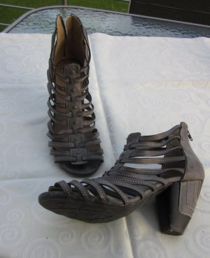Sandalen met bandjes en hoge hakken grijs-bruin Leer