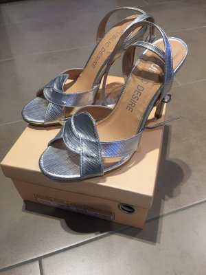 Public Desire Strapped High-Heeled Sandals silver-colored