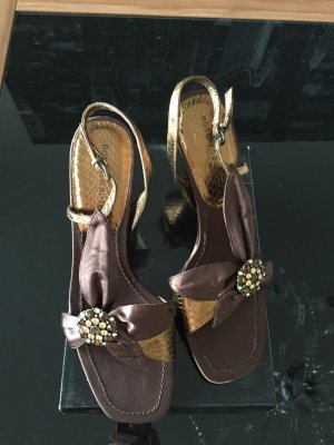 High-Heeled Sandals bronze-colored-dark brown