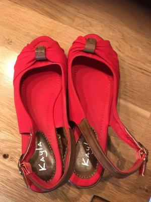 Sandaletten Größe 40, roter Stoffbezug
