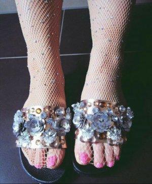 Sandaletten Gummi Asos 36 Kupfer Silber Trend