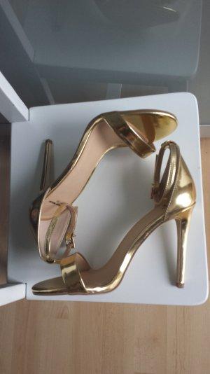 Sandaletten High Heel/ Gold Neu
