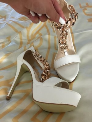 Sandaletten High Heeled Sandals Weiß Gold Absatzsandalen