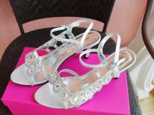 High-Heeled Sandals silver-colored textile fiber