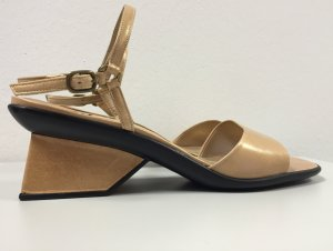 Stuart weitzman Strapped High-Heeled Sandals gold-colored-black leather