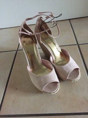 Sandaletten keilabsatz gold rosa pleatu