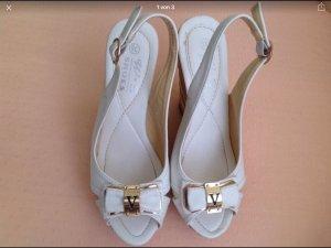 Sandaletten Keilabsatz Kunstleder weiß 36