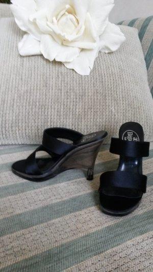 Sandaletten  Keilabsatz schwarz durchsichtig von Elegance Neu!