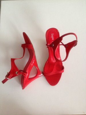 Wedge Sandals brick red cotton