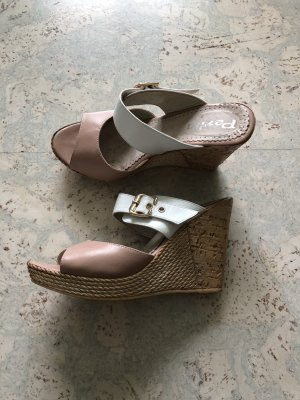 Sandalias de tacón con plataforma blanco-marrón claro