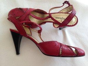 Sandalias de tacón de tiras rojo oscuro Cuero