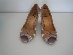 High-Heeled Toe-Post Sandals multicolored imitation leather