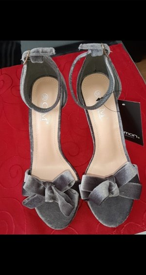 High-Heeled Toe-Post Sandals grey