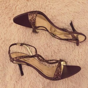Strapped High-Heeled Sandals dark brown-gold-colored