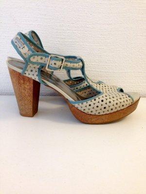 Sandaletten mit Holzabsatz von Firetrap, Gr. 40, echtes Leder