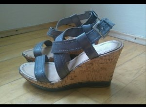 Sandaletten mit Keilabsatz (Leder)