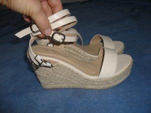 High-Heeled Sandals cream imitation leather