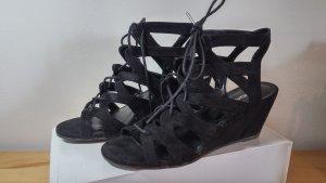 Sandaletten mit Keilabsatz, schwarz, Gr. 38
