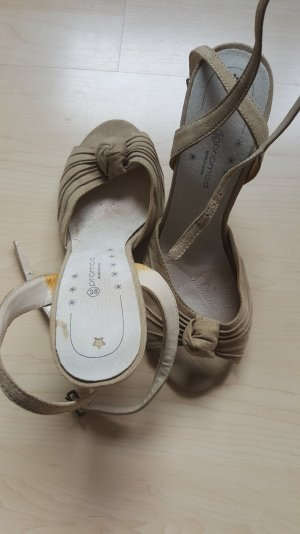 Promod Strapped High-Heeled Sandals sand brown