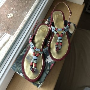 T-Strap Sandals multicolored leather