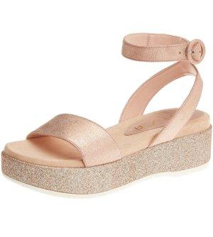 Sandaletten mit Plateau in zartem rosé & silber