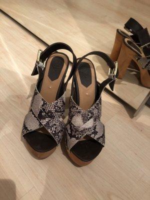 Sandales à talons hauts et plateforme multicolore